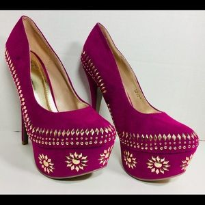 Scene Faux Suede Fushia Gold Platform heels